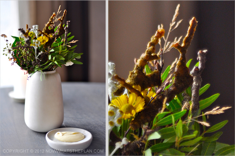 Noma flower vase with malt bread disguised as twigs