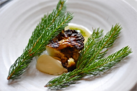 Roasted cauliflower flanked by pine leaves