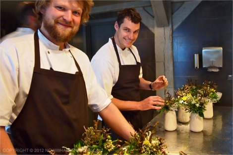 Noma chefs preparing the flower vases