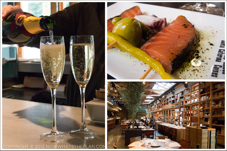 Spanish cava; assorted tapas in one plate; restaurant interior of Cuines Santa Caterina
