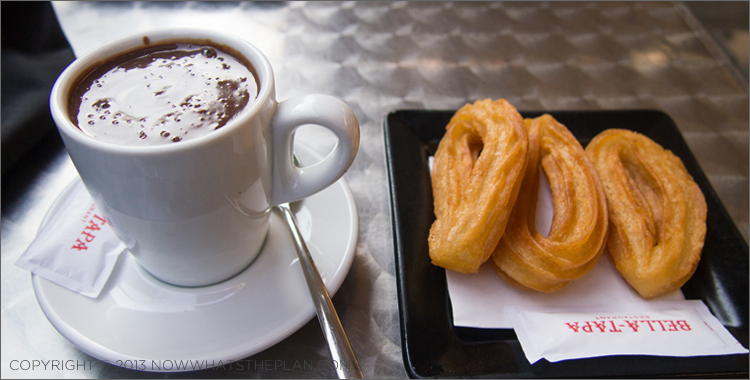 Merienda of churros con chocolate