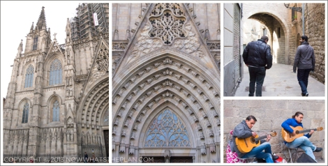 Left: Barri Gotic's Barcelona Cathedral; Middle: Barcelona Cathedral's doorway of angels; Top-right: Nicolas & KD walking the old, narrow streets; Bottom-right: Adrian Roman performing