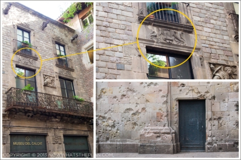 Left & top-right: Barri Gotic's Knights Templar building marked by a boot emblem; Bottom-right: Bomb marks from the Spanish civil war