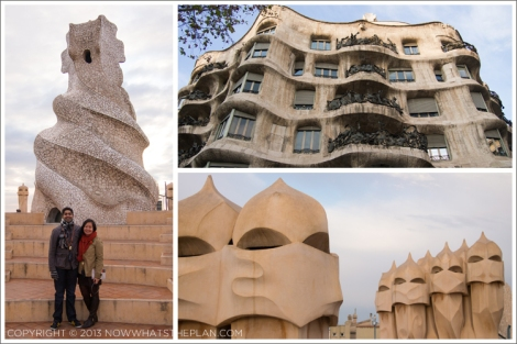 Left: One of La Pedrera's chimneys; Top-right: The wave- and water-inspired facade; Bottom-right: Soldier-inspired ventilation ducts