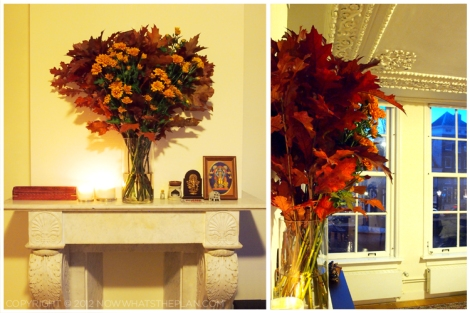 Fall foliage arrangement on mantle