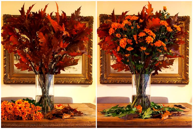 Fall foliage - arrange stems and flowers