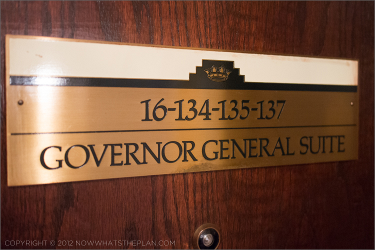 Governor General Suite door label 16-134-135-137