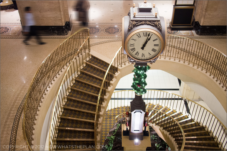 Fairmont Royal York's signature clock and spiral staircase