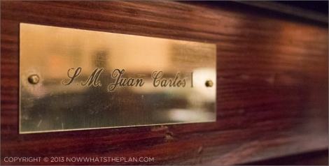 King Juan Carlos I shiny seat plaque