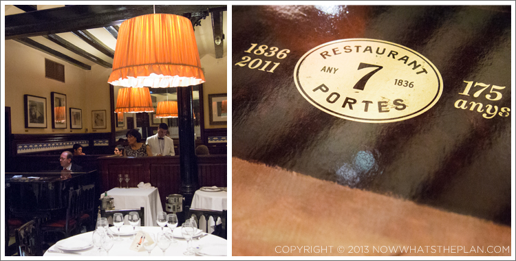 Left: Beautiful dining room of 7 Portes with a live pianist; Right: Over 175 years of amazing Spanish cooking