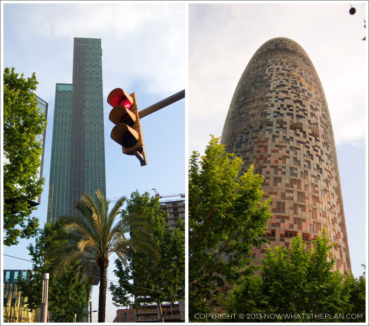 Left: Habitat Sky/Hotel ME shaped like a Tetris block; Right: Torre Agbar that lights up entirely with its 4,500 LED lights