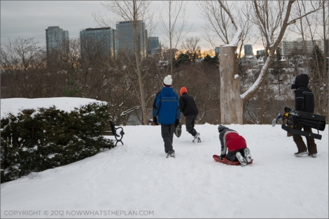 Children getting ready to toboggan in High Park Toronto