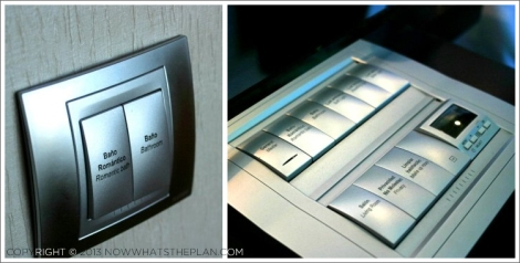 Hotel Arts Barcelona: Romantic bath lighting at a flick of a switch; the light and shade control panel at the nightstand