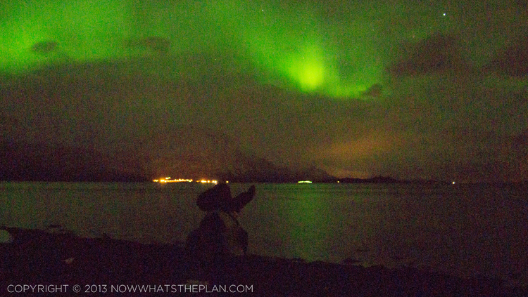 My husband pointing at the northern lights