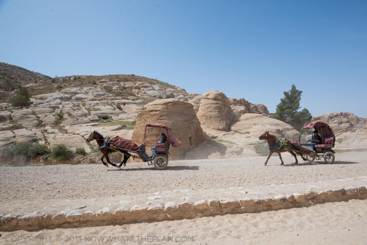 Petra, Jordan - horse carriages racing at the Bab as-Siq