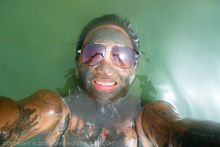 Mud washing off in the Dead Sea