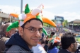 "Green, orange, and white for ""India! India! India!"""