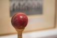 The cricket ball complete with seams and shine