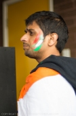 Smears on the face with a loud message: Go India!