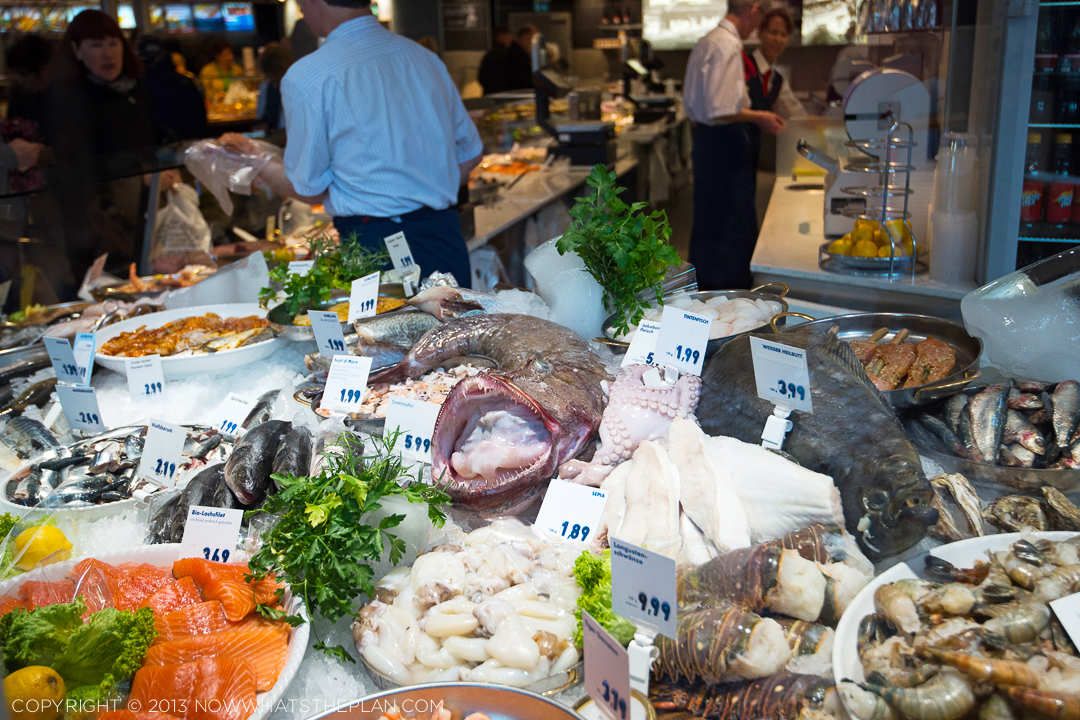 Munich seafood window at Nordsee is an oasis to pescetarians