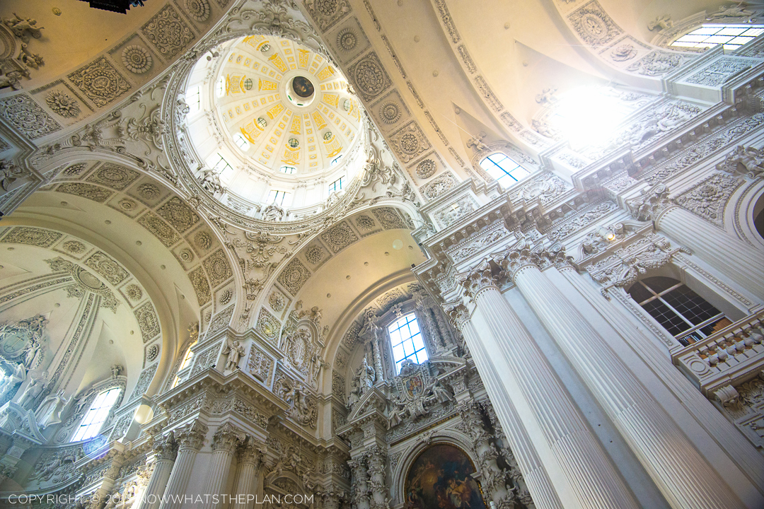 Munich's Theatinerkirche St. Kajetan drenched in yellow sunshine