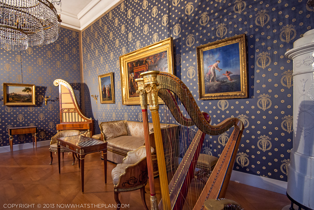 Prussian blue and gold in the harp room