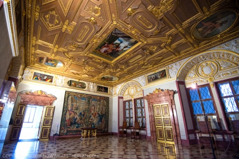 Munich Residenz: Trierzimmer (Trier Rooms) and its wooden coffered ceilings