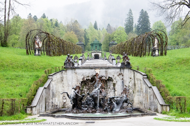 Linderhof Palace: The view of the Neptune fountain that the king woke up to every day