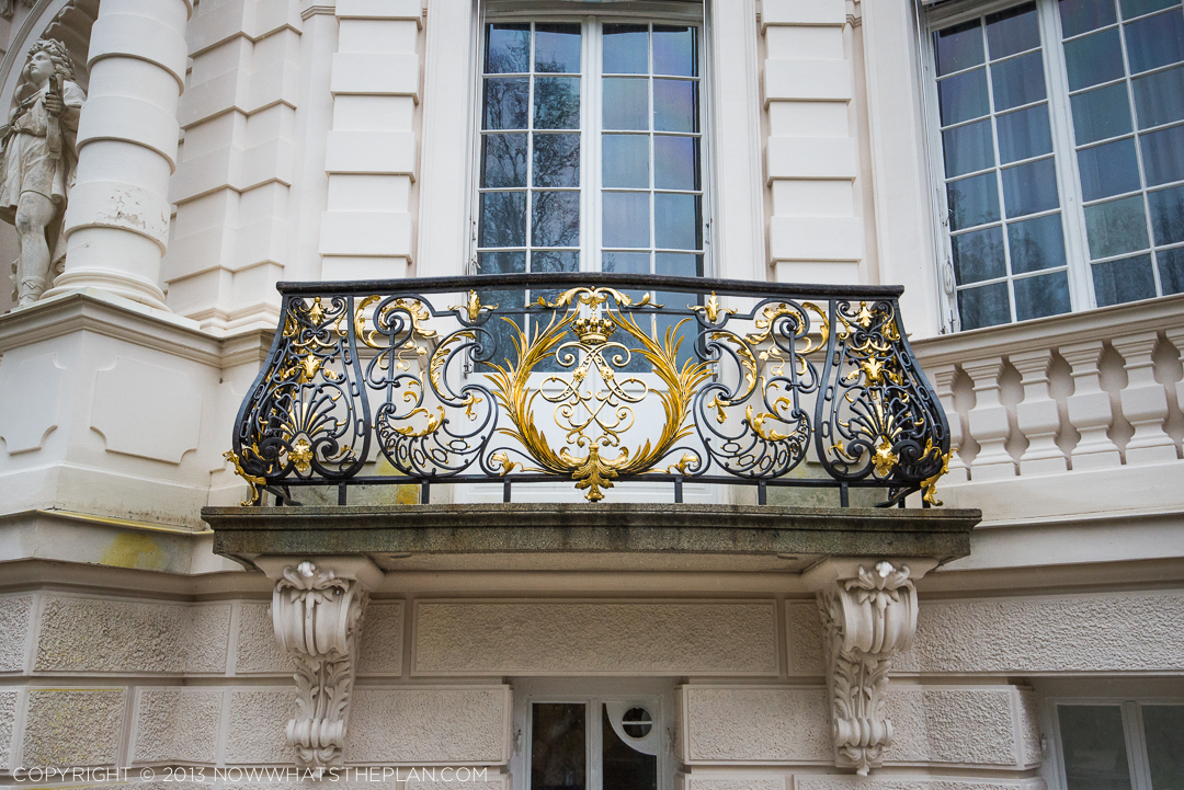 King Ludwig's fine taste for details shows in this balcony's ironwork