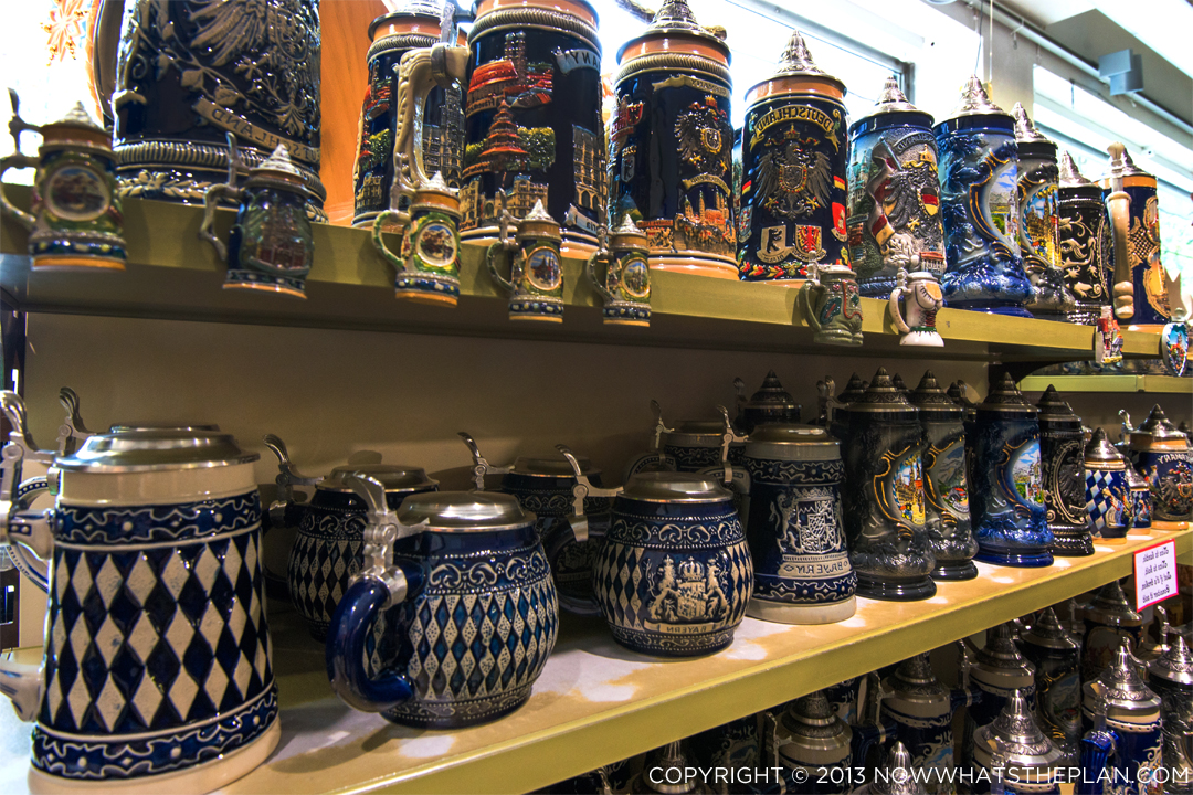 Countless bier stein options in and outside of Munich